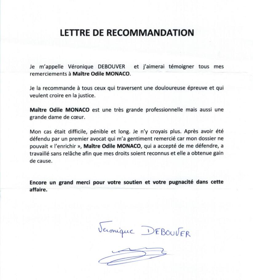Lettre de remerciement Odile Monaco
